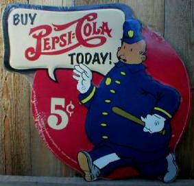 PEPSI-COLA COPS DIECUT METAL SIGN