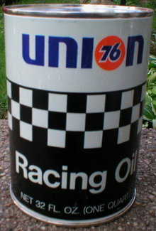 UNION 76 RACING  METAL OIL CAN EMPTY