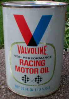 VALVOLINE RACING OIL CAN NEW EMPTY PAPER LABEL