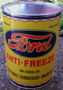 FORD ANTI-FREEZE CAN NEW EMPTY PAPER LABEL
