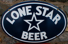 LONE STAR BEER PORCELAIN COATED OVAL METAL SIGN