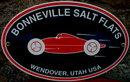 BONNEVILLE SALT FLATS WENDOVER UTAH PORCELAIN COATED OVAL METAL SIGN