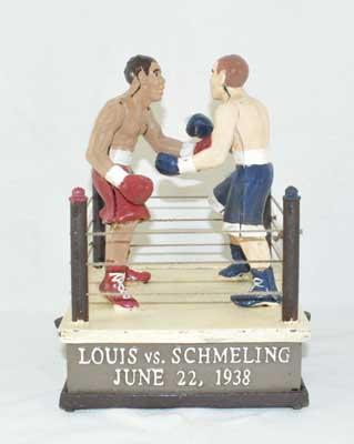 LOUIS SCHMELING BOXING MECHANICAL BANK CAST IRON