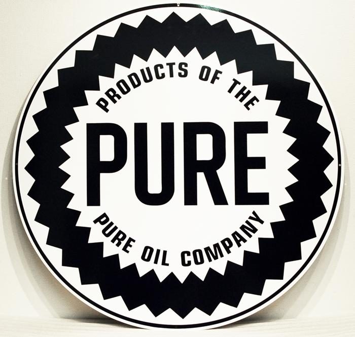 PURE OIL COMPANY LARGE ROUND METAL SIGN 30