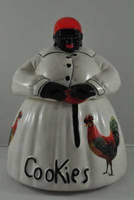 AUNT JEMIMA COOKIE JAR WHITE with ROOSTERS
