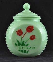 JADE JADITE JADEITE ROUND SUGAR CANISTER RED TULIPS DECOR