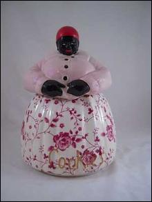 PORCELAIN MAMMY COOKIE JAR PINK TOP ROSE BOTTOM