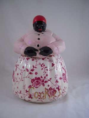 PORCELAIN MAMMY COOKIE JAR PINK TOP ROSE BOTTOM