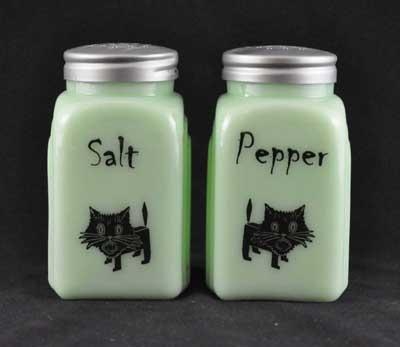 JADE ARCH CAT SALT PEPPER SET METAL LIDS
