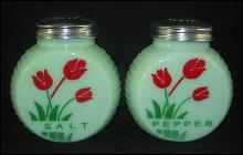 JADE ART DECO RANGE SALT PEPPER SET RED FLOWERS
