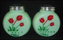 JADE ART DECO RANGE SALT PEPPER SET RED FLOWERS