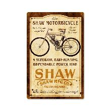 SHAW MOTOR BICYCLE GALESBURG KANSAS HEAVY METAL SIGN
