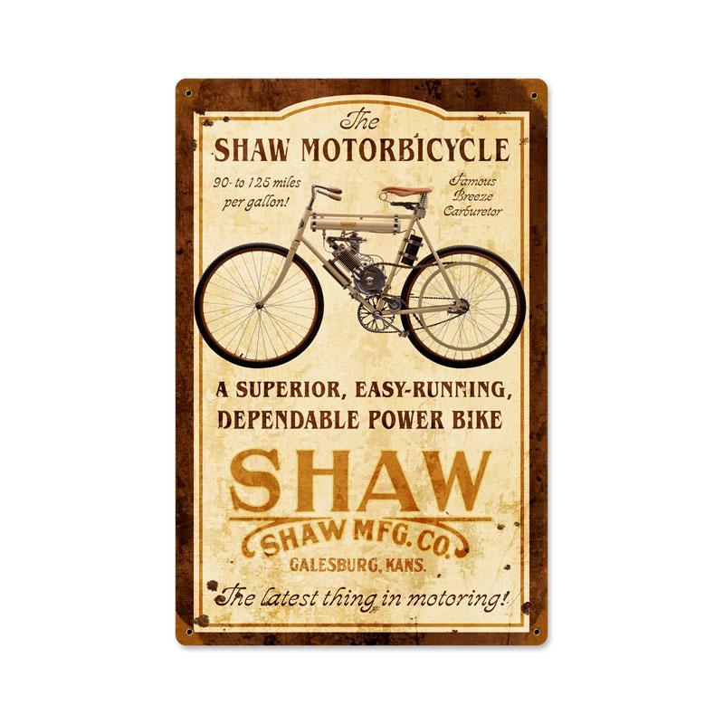SHAW MOTOR BICYCLE GALESBURG KANSAS HEAVY METAL SIGN