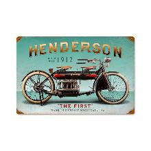 FIRST HENDERSON MOTORCYCLE 1912 HEAVY METAL SIGN
