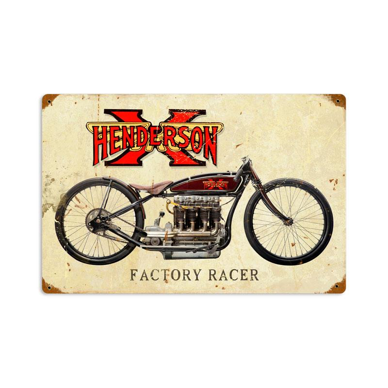 HENDERSON X FACTORY RACER MOTORCYCLE 1912 HEAVY METAL SIGN