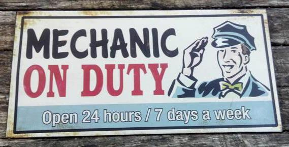 MECHANIC ON DUTY GAS STATION METAL SIGN
