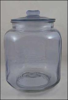 LARGE BLUE GLASS PEANUTS JAR Raised Lettering