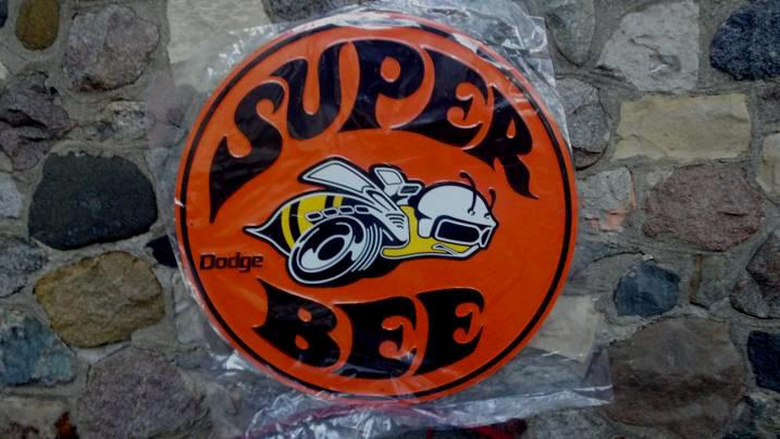 DODGE SUPER BEE LARGE ROUND EMBOSSED METAL SIGN 24