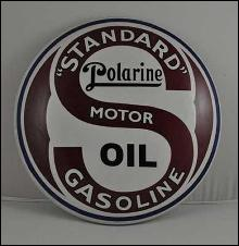 STANDARD POLARINE MOTOR OIL GASOLINE HEAVY METAL DOME SIGN 12