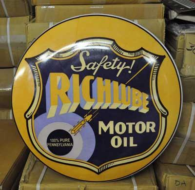 RICHLUBE MOTOR OIL BIG RETRO DOME SIGN 24