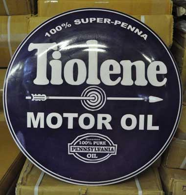 TIOLENE MOTOR OIL BIG RETRO METAL DOME SIGN 24