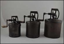THREE METAL CHURNS SMALL MEDIUM LARGE