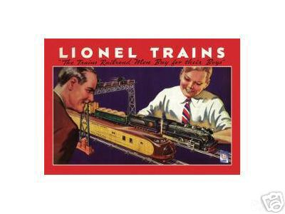 LIONEL TRAINS TIN METZL SIGN 1934
