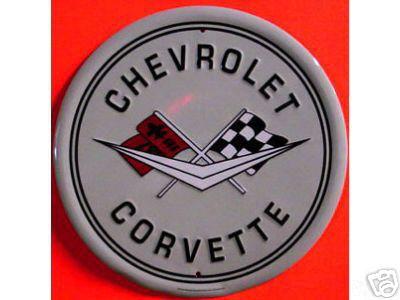 CHEVROLET CORVETTE ROUND TIN SIGN