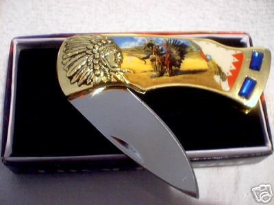 GOLDTONE WARRIOR FOLDING POCKET KNIFE