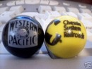 WESTERN PACIFIC CHESSIE SYSTEM GLASS LOGO MARBLES