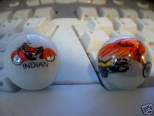 TWO INDIAN MOTORCYCLES GLASS LOGO MARBLES