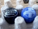 SANTA FE NEW YORK CENTRAL GLASS LOGO MARBLES