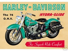 HARLEY DAVIDSON OHV 74 TIN SIGN H