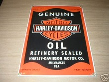 NEW HARLEY DAVIDSON MOTOR OIL SIGN PORCELAIN OVERLAY