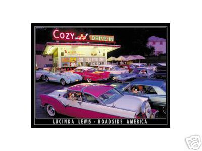 COZY DRIVE IN METAL SIGN