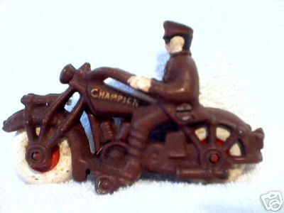 CAST IRON BROWN POLICE MOTORCYCLE