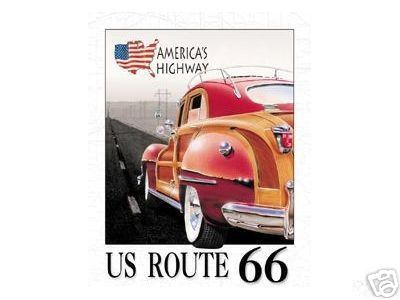 US ROUTE 66 CHRYSLER WOODY METAL SIGN