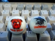 BUDWEISER RED  DOG GLASS LOGO MARBLES B