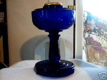 LINCOLN DRAPE OIL LAMP COBALT GLASS