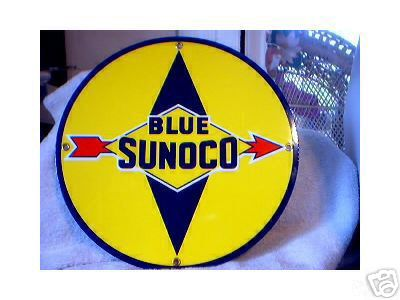 BLUE SUNOCO PORCELAIN  COATED SIGN
