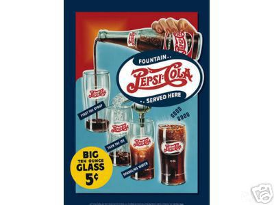 PEPSI COLA  FOUNTAIN SERVED TIN  SIGN