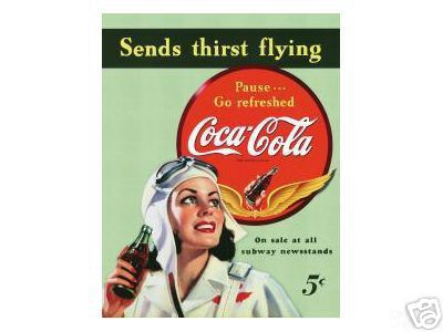 COCA-COLA SIGN  -  SENDS THIRST FLYING