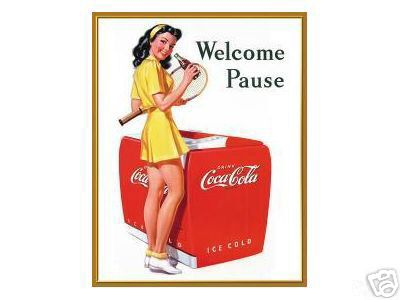 COCA-COLA SIGN WELCOME  PAUSE TIN METAL SIGN