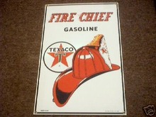 TEXACO FIRE CHIEF GASOLINE PORCELAIN COATED SIGN