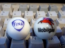 NEW FINA & MOBILGAS LOGO MARBLES ADVERTISING MARBLE NR