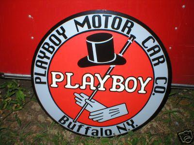 PLAYBOY MOTOR CAR  CO HEAVY METAL SIGN
