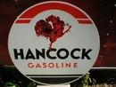 HANCOCK GASOLINE HEAVY METAL SIGN 25.5
