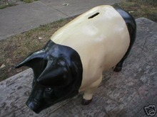 BIG PAINTED CAST IRON PIG BANK