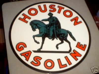 HOUSTON GASOLINE HEAVY METAL SIGN