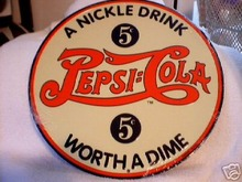 PEPSI - COLA NICKEL DRINK TIN  SIGN RETRO SIGNS